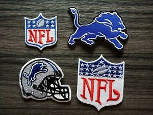 4 pcs Patch DETROIT LIONS Football Team Embroidered Iron or Sew on Shirt Hat Bag