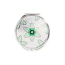 NEW Twelve NYC TEAL Green and Silver Flower Crystal Rhinestone Mirror Compact
