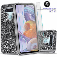 New listing For Lg Stylo 6/5V/5x/5 Plus Case, Glitter Phone Cover + Tempered Glass Protector