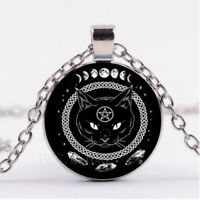 1pc Cabochon Glass necklace Silver Chain Black pendant(black cat Pentagram