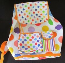 LITTLE MISS MATCHED Zany White Drawstring Backpack With Multi-Colored Polka Dots