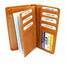Bifold Large Genuine Leather Credit Card Checkbook Holder Wallet with Zipper