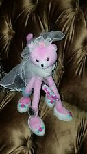 "Poseable Pink Sparkle Wedding Dress Kitty Cat Barbie 2002 Jewelry Plush 12""Toy"