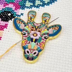 Mandala Giraffe Needle Minder, Enamel Needle Minder, Magnet by Meloca Designs