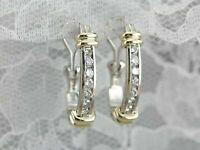 0.85 Ct Channel Set Diamond Modern Hoop Earrings 14K Two-Tone Gold GP Omega Back