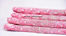 Cotton Voile Pink Flower Indian Hand Block Print Sewing Material Craft 10 Yard