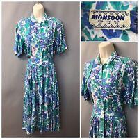 Vintage Monsoon Blue Mix Pleated Cotton Retro Dress UK 14 EUR 40