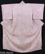 小紋 着物 Komon Kimono rosa,Blumen und shibori 100% Seide Hergestellt in Japan 1279