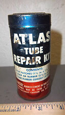 vintage ATLAS tire tube repair kit metal tin great graphics & colors