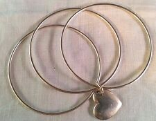 Tiffany & Co. Sterling Silver Triple Bangle Bracelet W/Heart Charm.