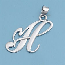 Alphabet Initial Pendant Sterling Silver 925 Rhodium Plated Jewelry Letter H