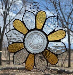 Vintage Hazel Atlas Glass Canning Jar Lid Stained Glass Flower Sun Catcher Gold