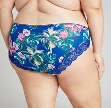 Lane Bryant Cacique Cotton Hipster Panties Underwear Floral Lace Blue 22 / 24