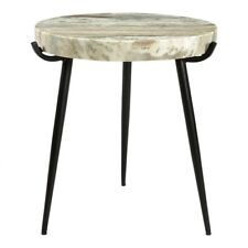 """20"""" T Side Table Solid 2"""" Thick Marble Top Powder Coated Iron Base One of a Kind"""
