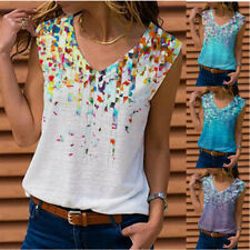 Women Summer Sleeveless T Shirt V Neck Floral Casual Tank Top Size Plus Blouse