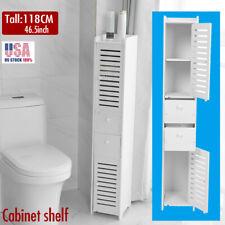 large Tall White Wood kitchen bathroom Organizer storage cabinet Shelf 2 Door