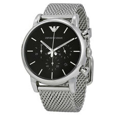 Emporio Armani Classic Watch Black/Silver Stainless Steel Analog Quartz Men's