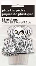 12 Skeleton Halloween Spooky Party Decoration Cupcake Sandwich Cake Toppers Food