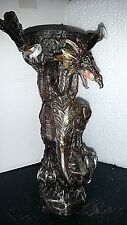 "Midevil Mystical Purple / Gold Dragon Statue 7"" tea light candle holder New"