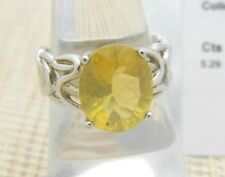 Yellow Fluorite Sterling Silver Ring Size 7 5.29cts