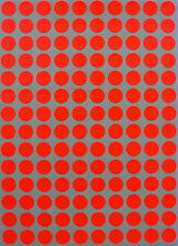 Red Neon Colored Coding Stickers 10 mm 3/8 Inch Small Labels Circular Dots Sheet
