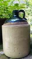 OLD VTG ANTIQUE CERAMIC WHISKEY MOONSHINE JUG CROCK STONEWARE TWO TONE BROWN TAN