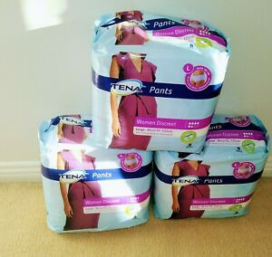 TENA Pants Women Discreet Large 8 pk, Box of 3.  (24 pants)