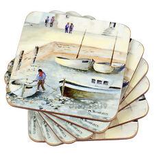 Set of 6 Nautical Drinks Coasters Beach Coastal Harbour Sea Table Protector Desk