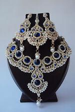 Ethnic Designer Indian Bollywood Blue Bridal Jewelry Fashion Necklace Set
