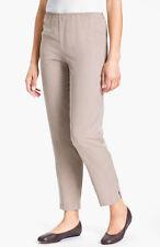 Eileen Fisher Khaki Tan Beige Tencel Linen Blend Slim Ankle Pant Side Zip - XL