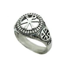 Chi Rho Symbol Jesus Crist Men's Ring Silver 925