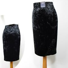 M&S Crushed VELVET Bodycon PENCIL SKIRT ~ Var Sizes / Lengths ~ BLACK