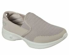 SKECHERS GO WALK 4 ATTUNED TRAINERS MEMORY FOAM SIZE 8 COLOUR TAUPE.NEW BOXED.