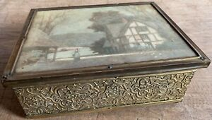 Vintage brass jewellery trinket box with silk cottage image to lid