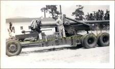 WWII US Army Soldier Poses on Long Tom M1 155mm Heavy Field Artillery Gun Photo