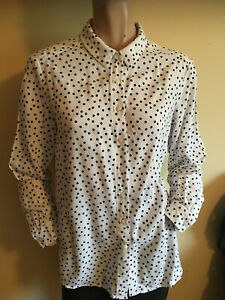M & S ~ White & Black Spotted Soft Viscose Long Sleeved Shirt Blouse Top Size 14