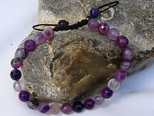 Men's GEMSTONE bracelet all 8mm NATURAL PURPLE AGATE beads