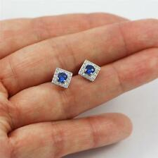 Unusual Solid 925 Sterling Silver, Blue Iolite,CZ Stud Earrings jewellery, 998