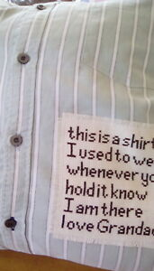 memory/keepsake cushion cover made from loved one's clothing item