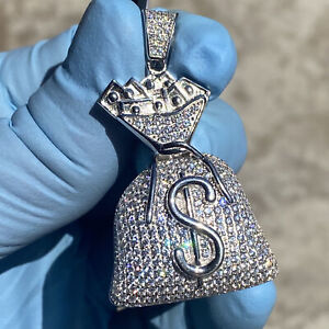 """Real Solid 925 Sterling Money Bag Emoji Micro Pave Charm Iced Hip Hop Pendant 2"""""""