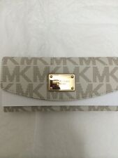 Michael Kors Wallet 35T3GJSE7B MK Signature North South Jet Set Flap PVC Vanilla