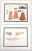 1922 Coppia Di Antico Impronte Costume Estone Livonia Baltica Etnico Abito Moda
