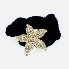 Ponytail holder Elastic Rhinestone Crystal Hair Tight Rope Gold Starfish 01-4