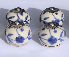 céramique tirer poignées de placard blanc rond bleu MOYEU & FLEURS (CHROME) x 4