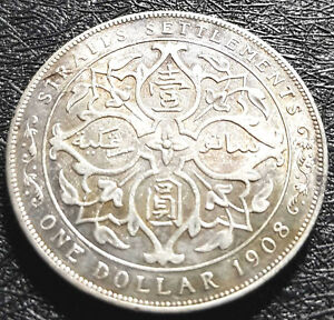 1908 Straits Settlement (King Edward VII)1 Dollars coin F(+FREE 1 coin)#D4975