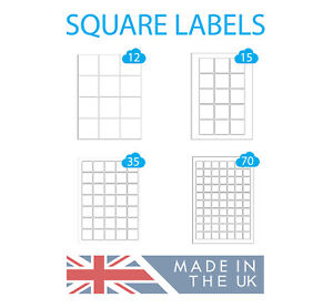 500 A4 Sheets, Square Labels, White Paper Laser & Inkjet Printer Square Stickers