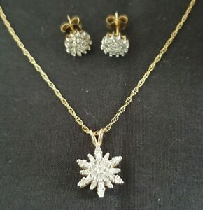Hallmarked 9ct Gold Diamond Cluster Flower Necklace/Earrings Round/Baguette Cut