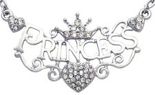 Princess Letter Word Engraved Crown Tiara Heart Pendant Necklace Jewelry n2050s