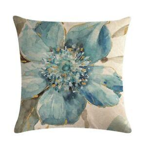 Pack of 2 Decorative Blue Floral Linen & Cotton Throw Pillow Cover - 45cm x 45cm