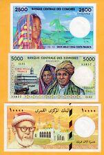 UNC Comoros 1984-2005 Set 500 1000 2500 5000 10000 Francs P-10b 11b 12a 13 14